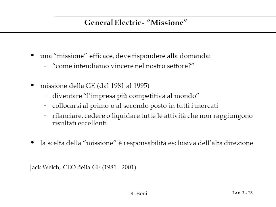 General Electric - Missione