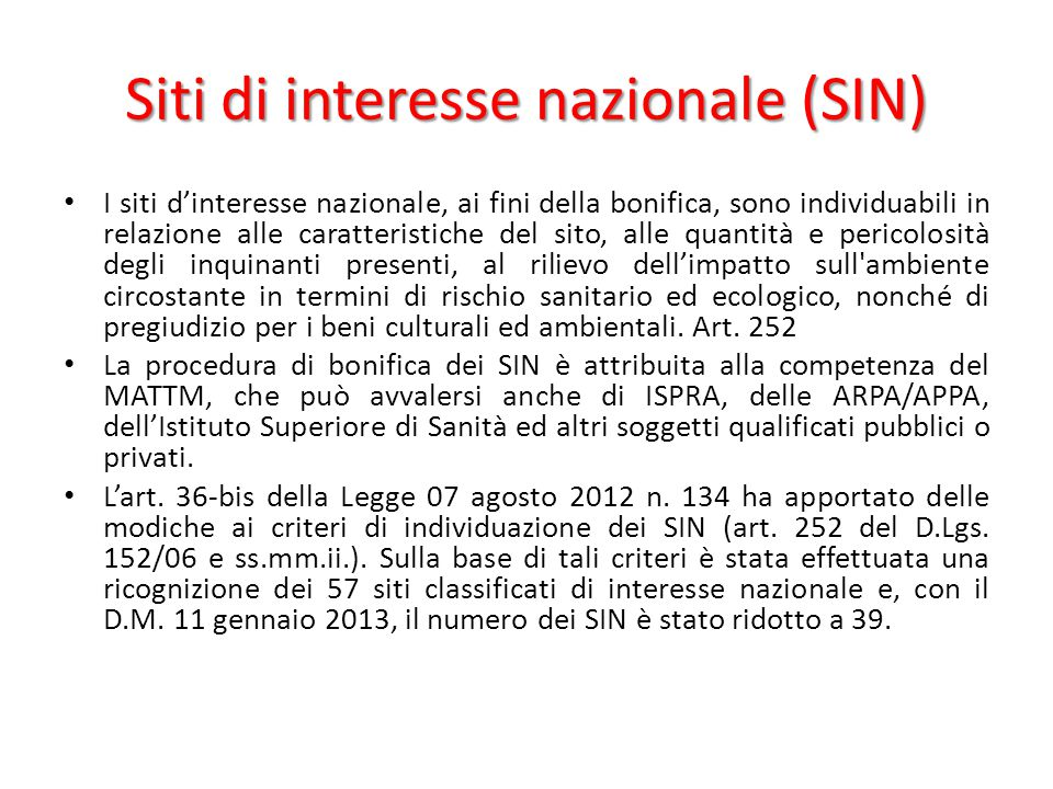 Siti di interesse nazionale (SIN)
