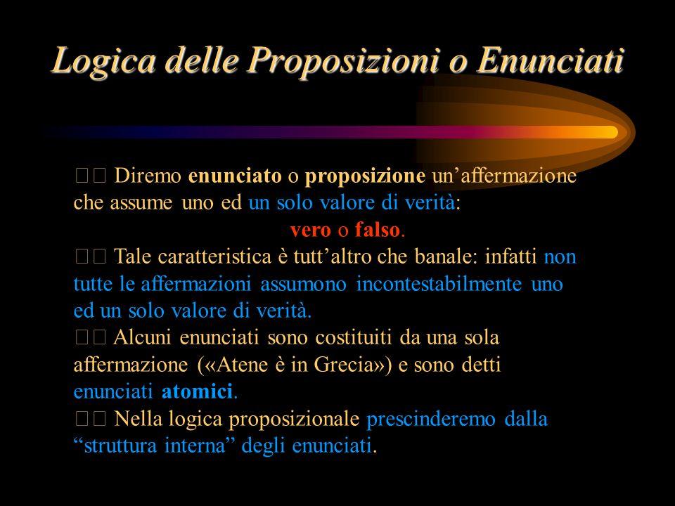 Logica delle Proposizioni o Enunciati