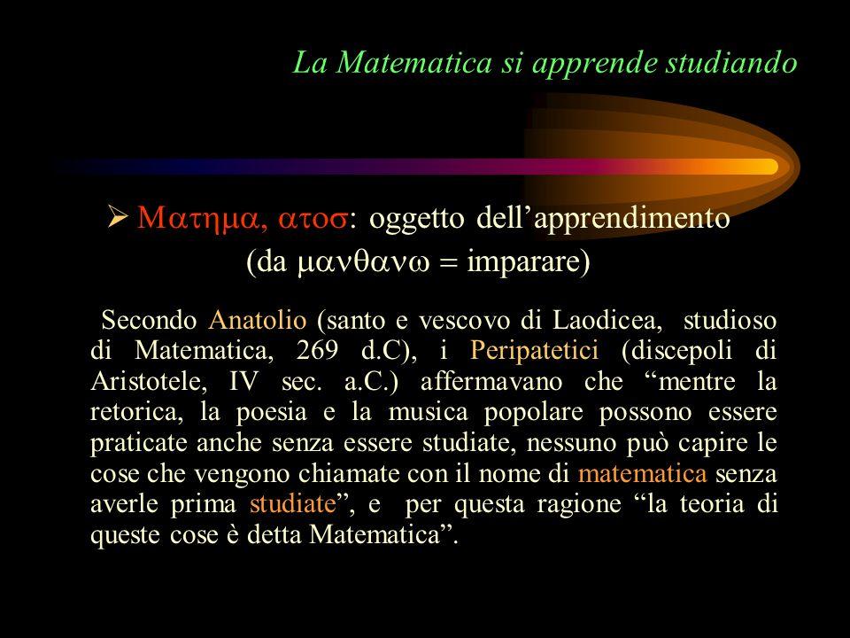 La Matematica si apprende studiando