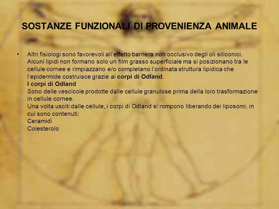 SOSTANZE FUNZIONALI DI PROVENIENZA ANIMALE