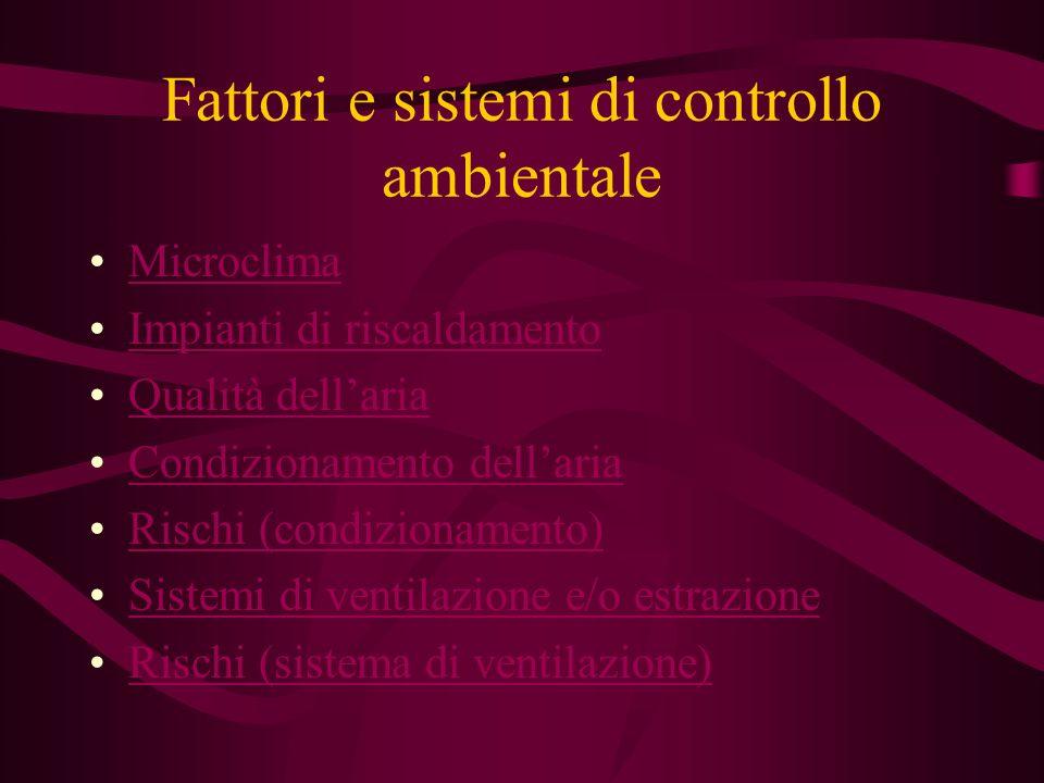 Fattori e sistemi di controllo ambientale