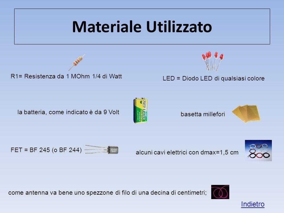 Materiale Utilizzato Indietro R1= Resistenza da 1 MOhm 1/4 di Watt