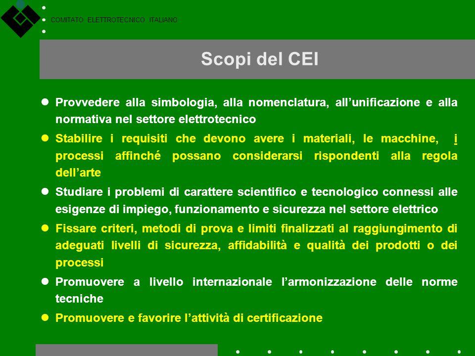 Scopi del CEI Provvedere alla simbologia, alla nomenclatura, all'unificazione e alla normativa nel settore elettrotecnico.