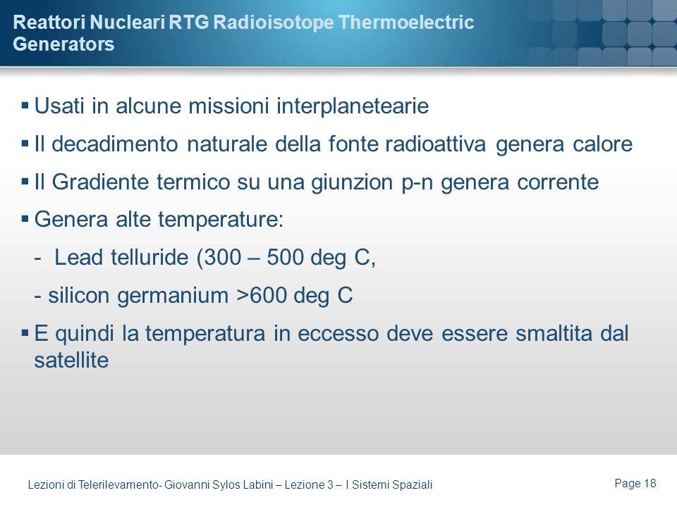 Reattori Nucleari RTG Radioisotope Thermoelectric Generators