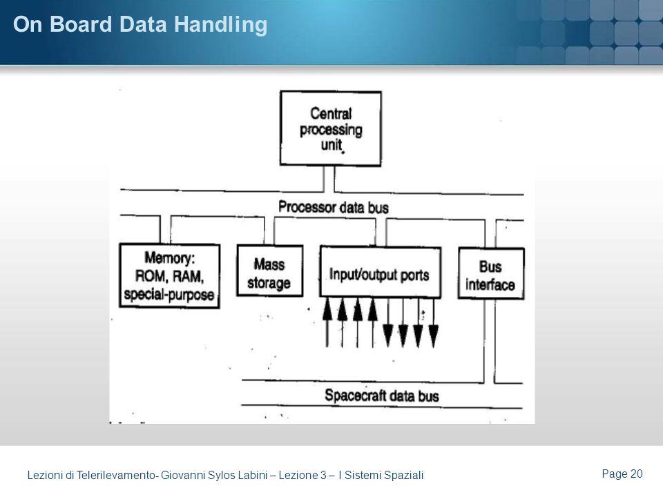 On Board Data Handling Lezioni di Telerilevamento- Giovanni Sylos Labini – Lezione 3 – I Sistemi Spaziali.