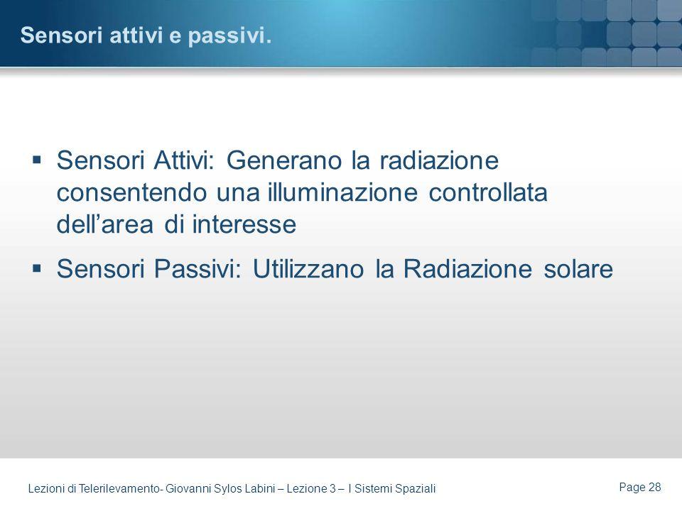 Sensori attivi e passivi.
