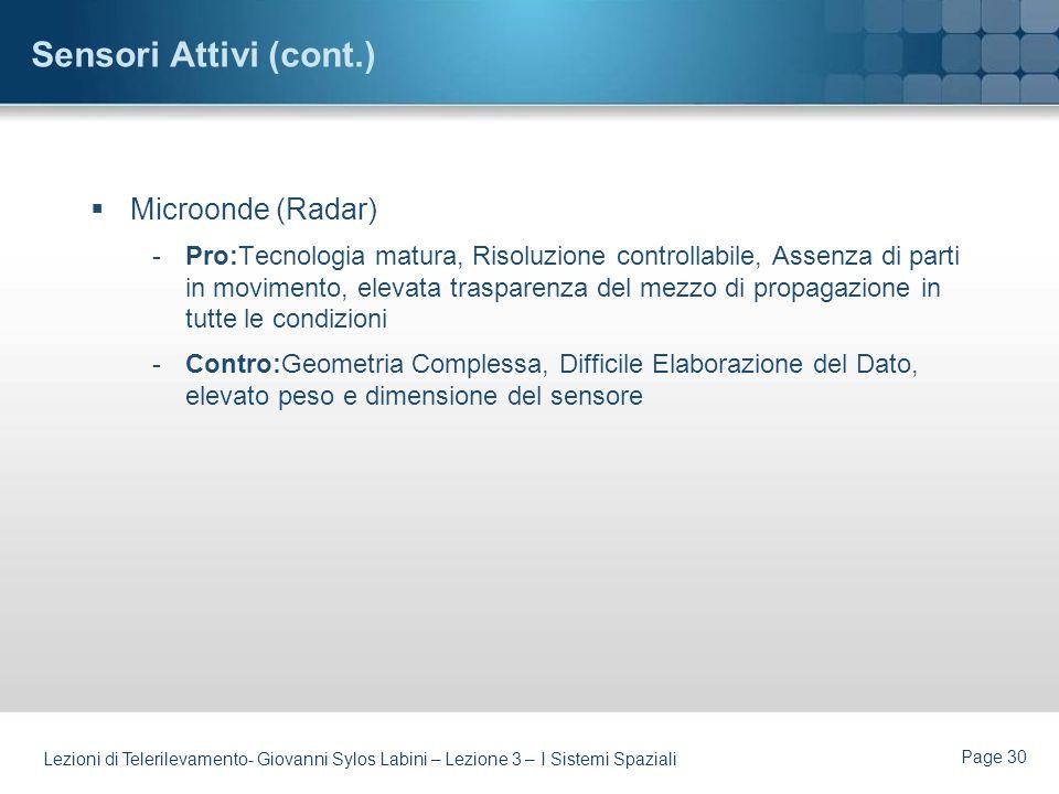 Sensori Attivi (cont.) Microonde (Radar)