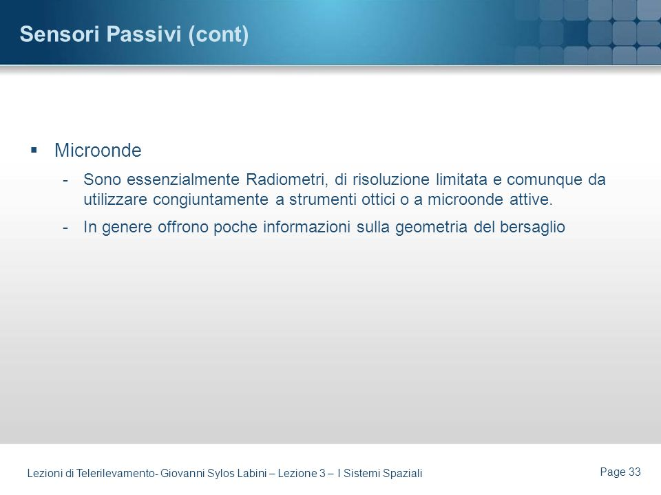 Sensori Passivi (cont)