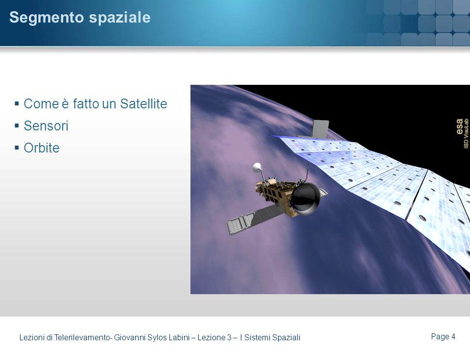 Segmento spaziale Come è fatto un Satellite Sensori Orbite