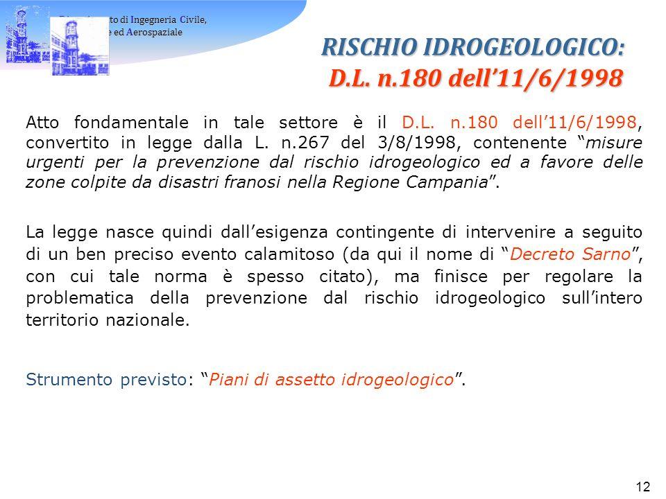 RISCHIO IDROGEOLOGICO: D.L. n.180 dell'11/6/1998