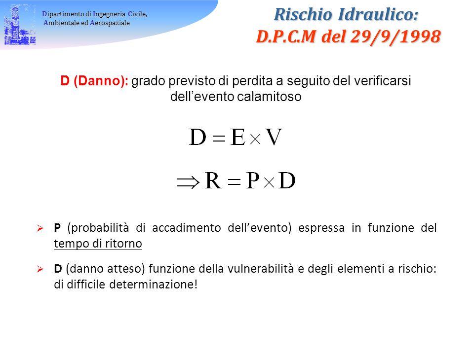 Rischio Idraulico: D.P.C.M del 29/9/1998