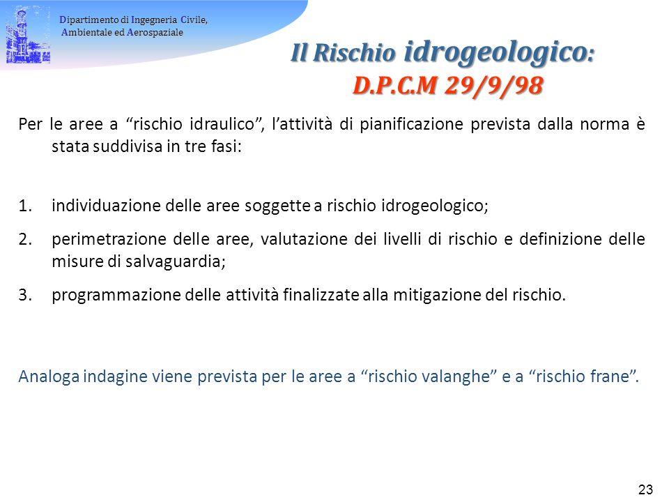 Il Rischio idrogeologico: D.P.C.M 29/9/98