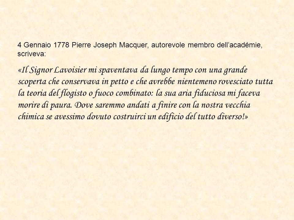 4 Gennaio 1778 Pierre Joseph Macquer, autorevole membro dell'académie, scriveva:
