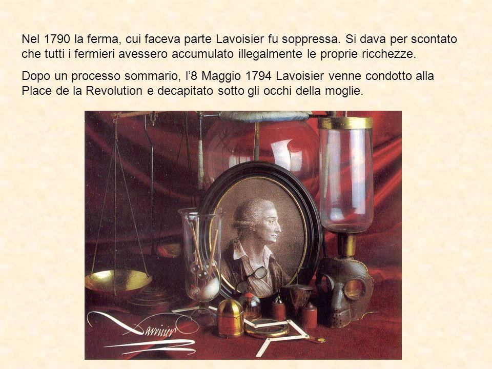 Nel 1790 la ferma, cui faceva parte Lavoisier fu soppressa