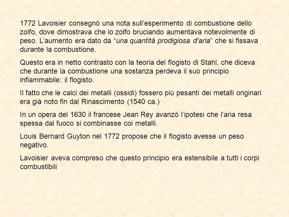 1772 Lavoisier consegnò una nota sull'esperimento di combustione dello zolfo, dove dimostrava che lo zolfo bruciando aumentava notevolmente di peso. L'aumento era dato da una quantità prodigiosa d'aria che si fissava durante la combustione.