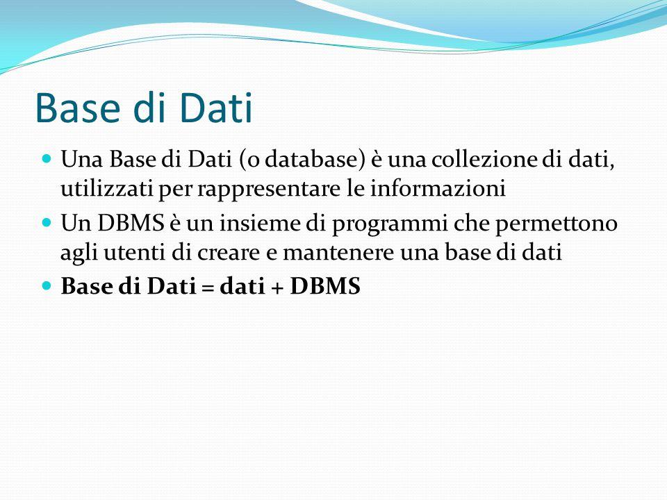 Base di Dati Una Base di Dati (o database) è una collezione di dati, utilizzati per rappresentare le informazioni.