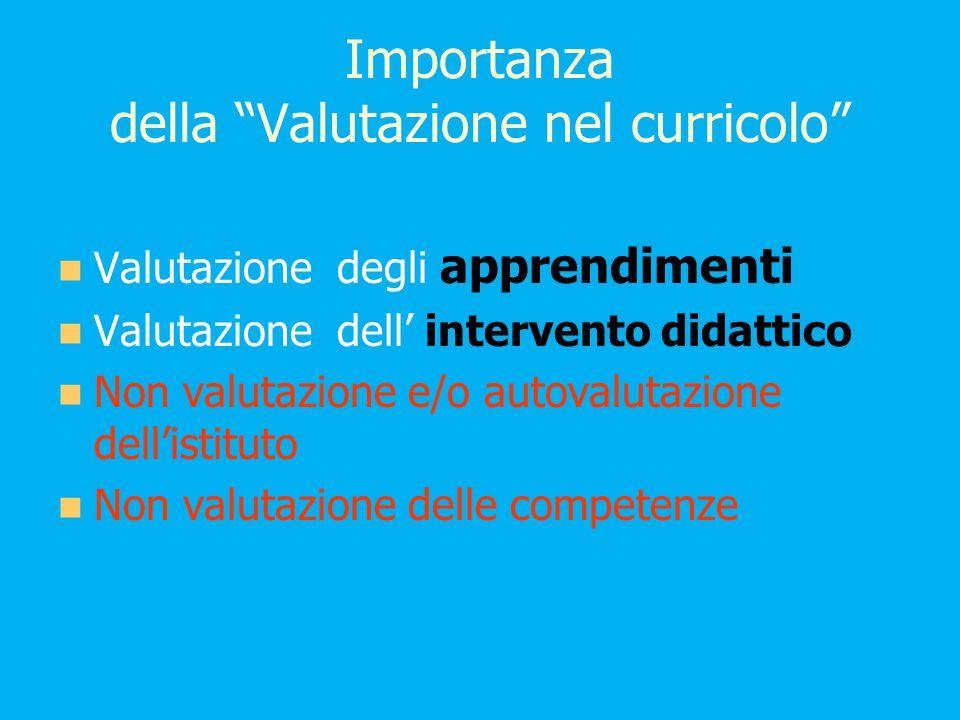 Importanza della Valutazione nel curricolo