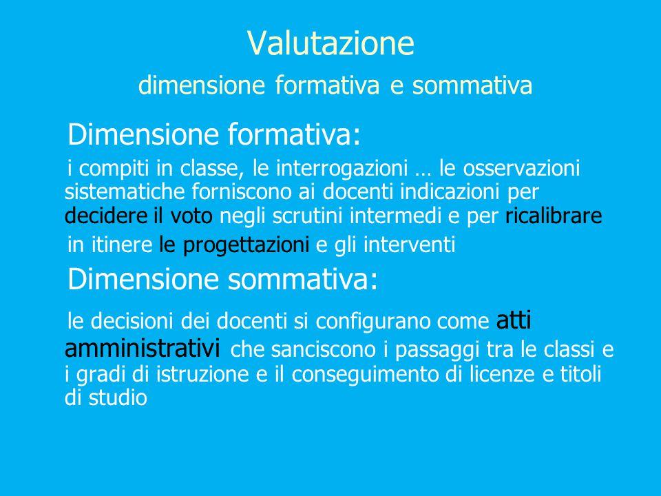 Valutazione dimensione formativa e sommativa