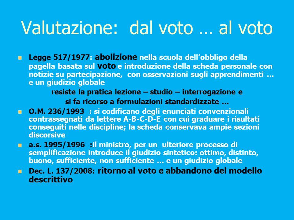 Valutazione: dal voto … al voto