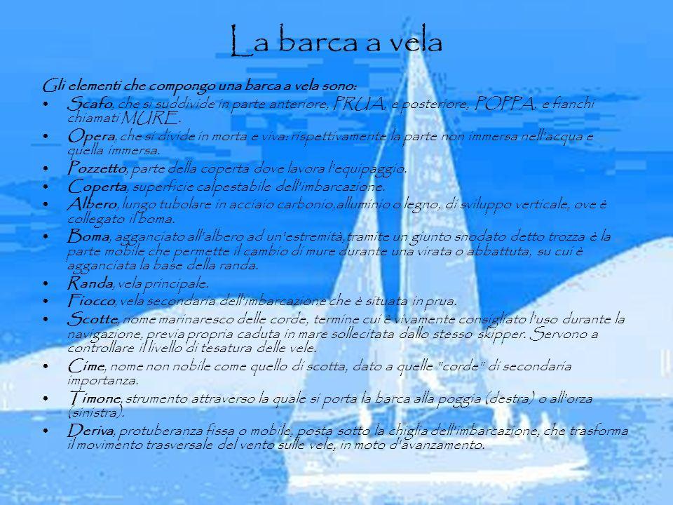 La barca a vela Gli elementi che compongo una barca a vela sono: