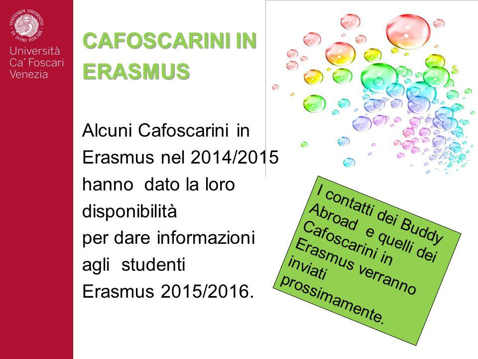 CAFOSCARINI IN ERASMUS Alcuni Cafoscarini in Erasmus nel 2014/2015