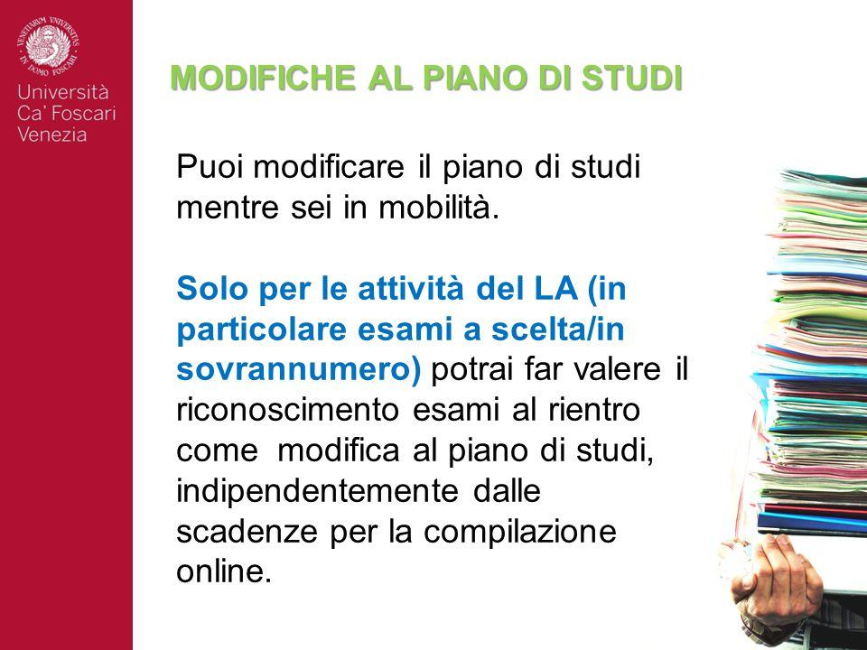MODIFICHE AL PIANO DI STUDI