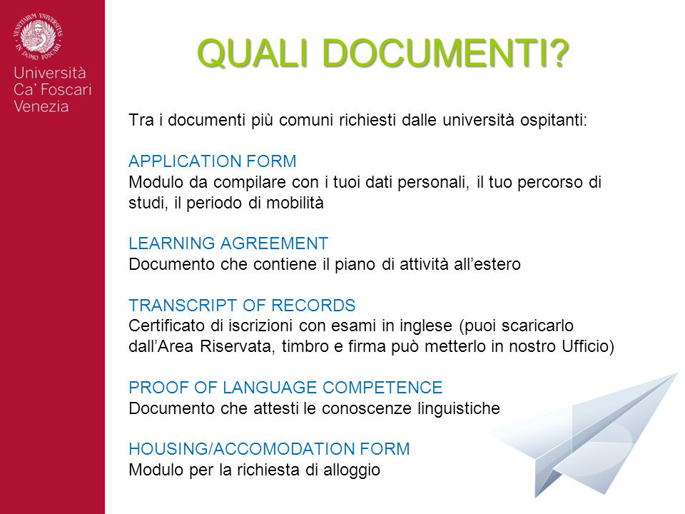 QUALI DOCUMENTI