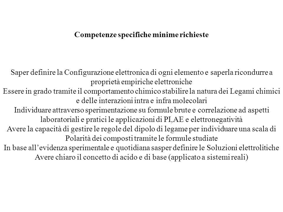 Competenze specifiche minime richieste