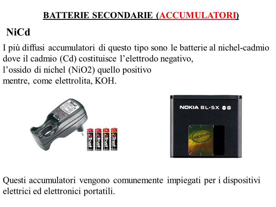 NiCd BATTERIE SECONDARIE (ACCUMULATORI)