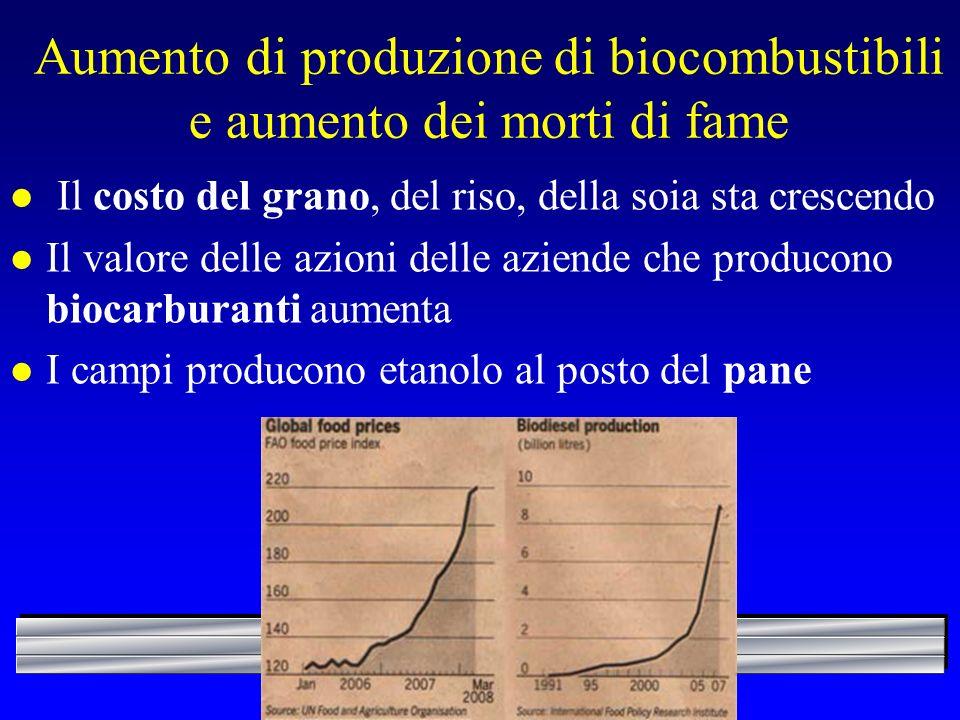 Aumento di produzione di biocombustibili e aumento dei morti di fame