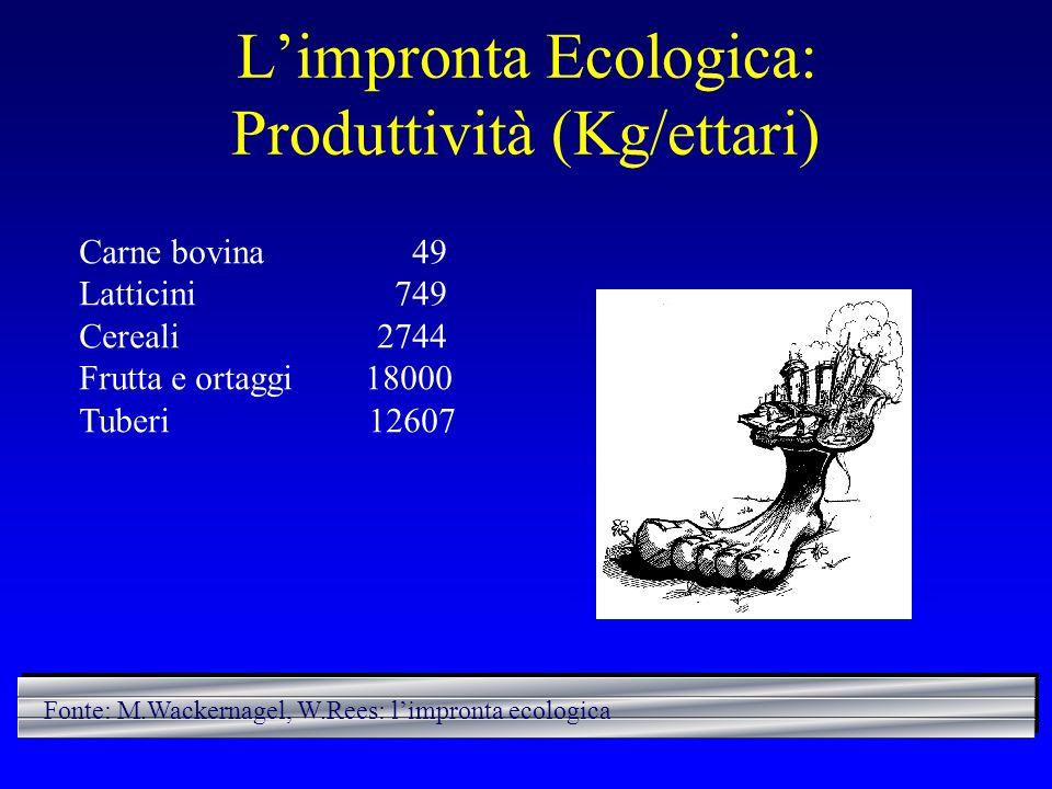 L'impronta Ecologica: Produttività (Kg/ettari)