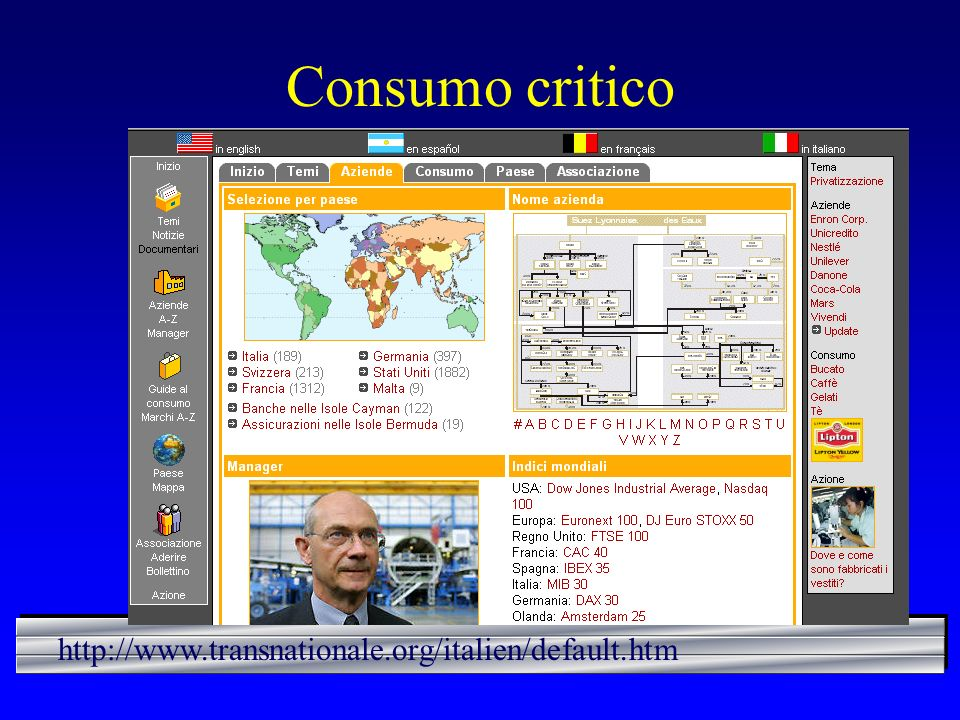 Consumo critico http://www.transnationale.org/italien/default.htm