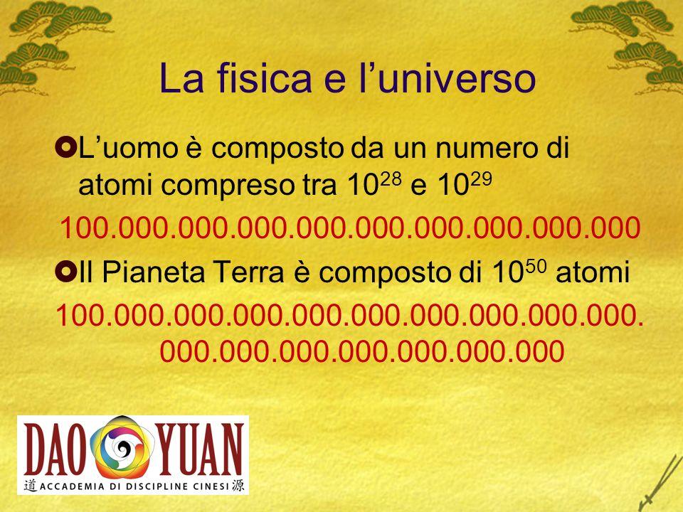 La fisica e l'universo L'uomo è composto da un numero di atomi compreso tra 1028 e 1029. 100.000.000.000.000.000.000.000.000.000.