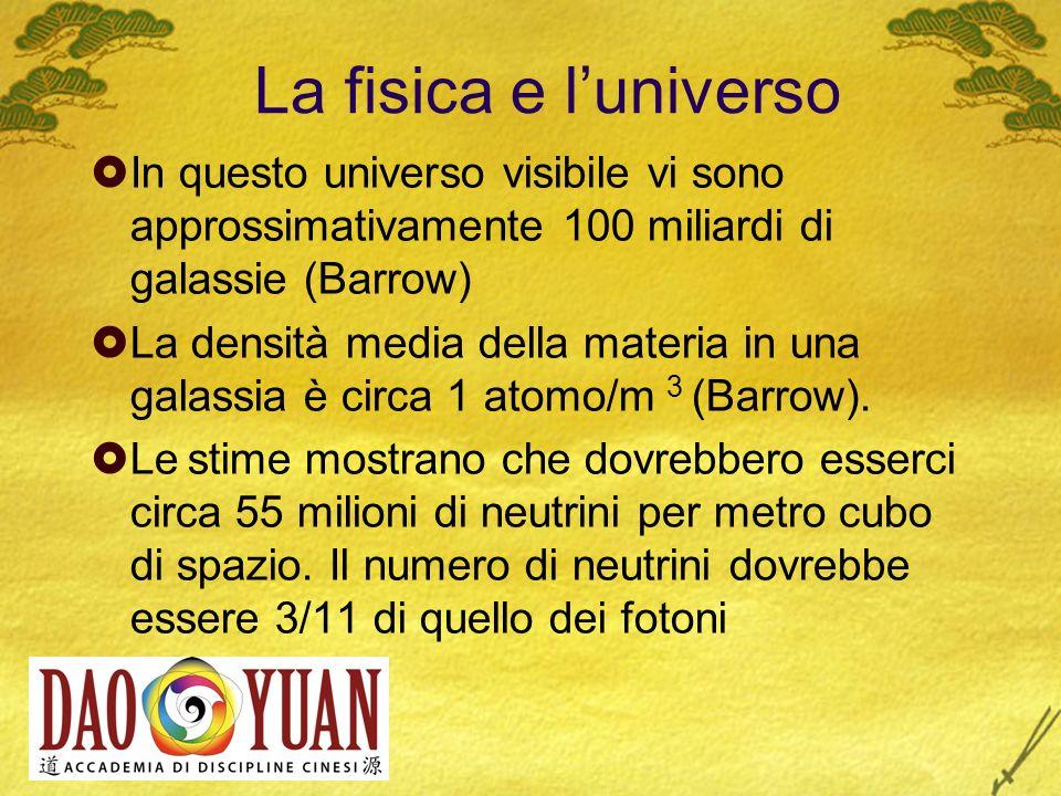 La fisica e l'universo In questo universo visibile vi sono approssimativamente 100 miliardi di galassie (Barrow)