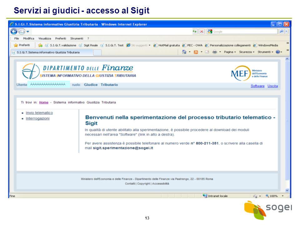 Servizi ai giudici - accesso al Sigit