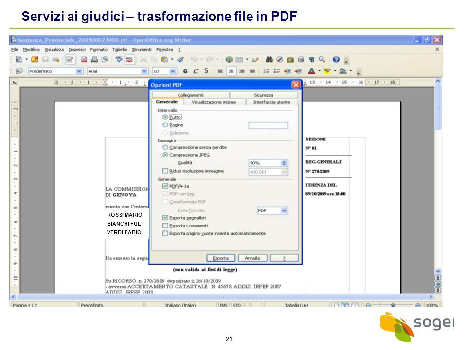 Servizi ai giudici – trasformazione file in PDF