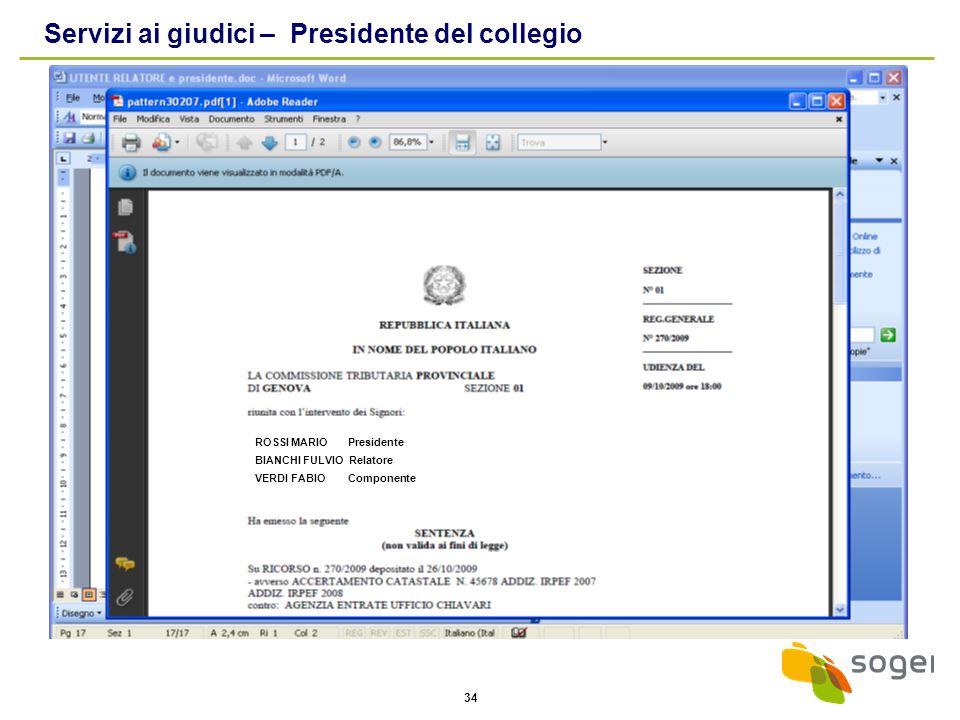 Servizi ai giudici – Presidente del collegio