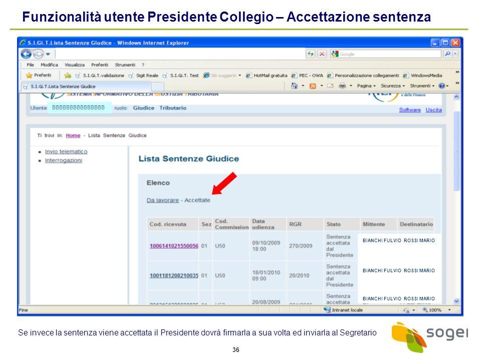 Funzionalità utente Presidente Collegio – Accettazione sentenza