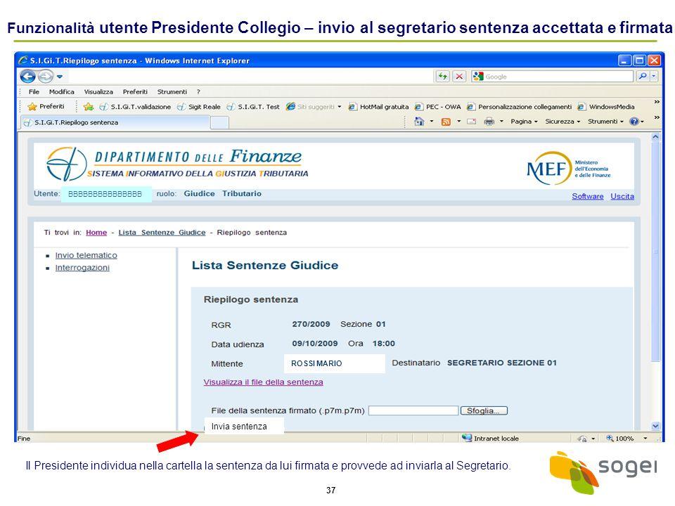 Funzionalità utente Presidente Collegio – invio al segretario sentenza accettata e firmata