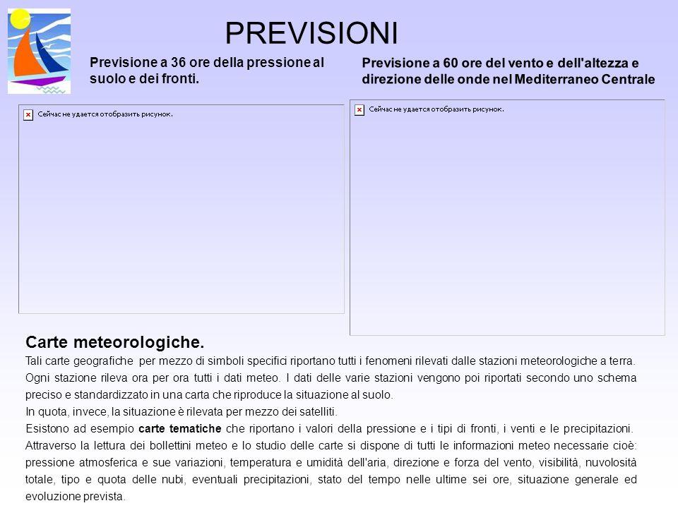 PREVISIONI Carte meteorologiche.