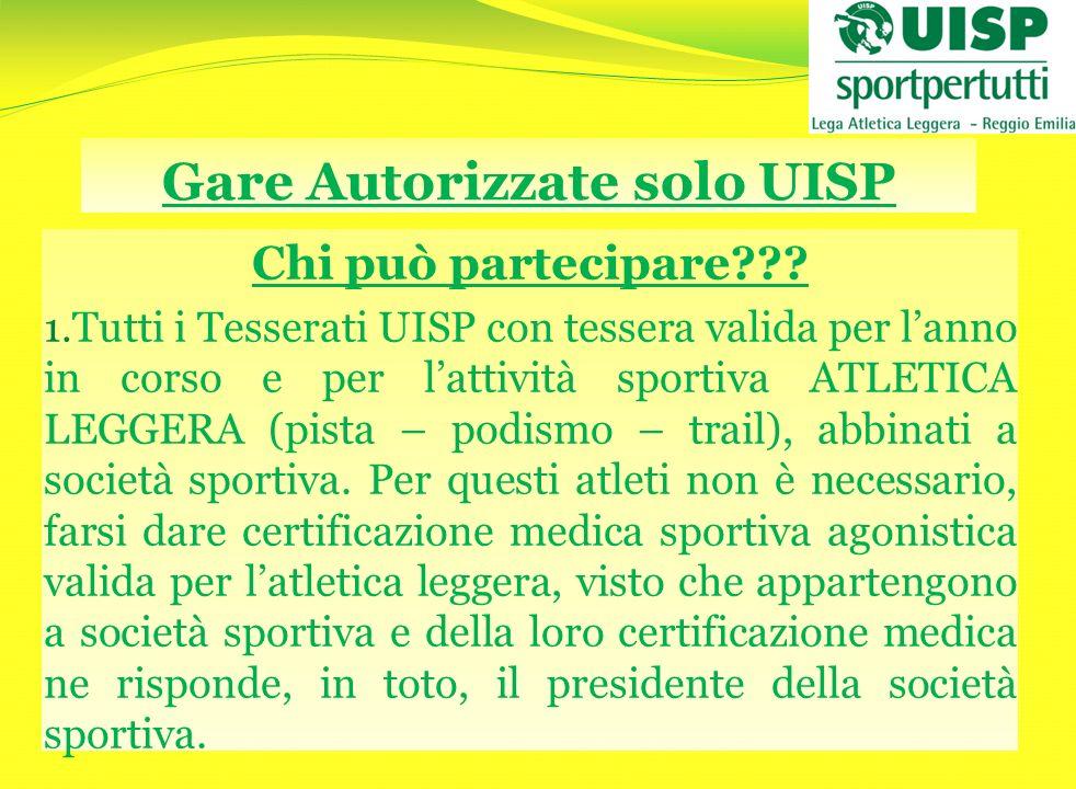 Gare Autorizzate solo UISP