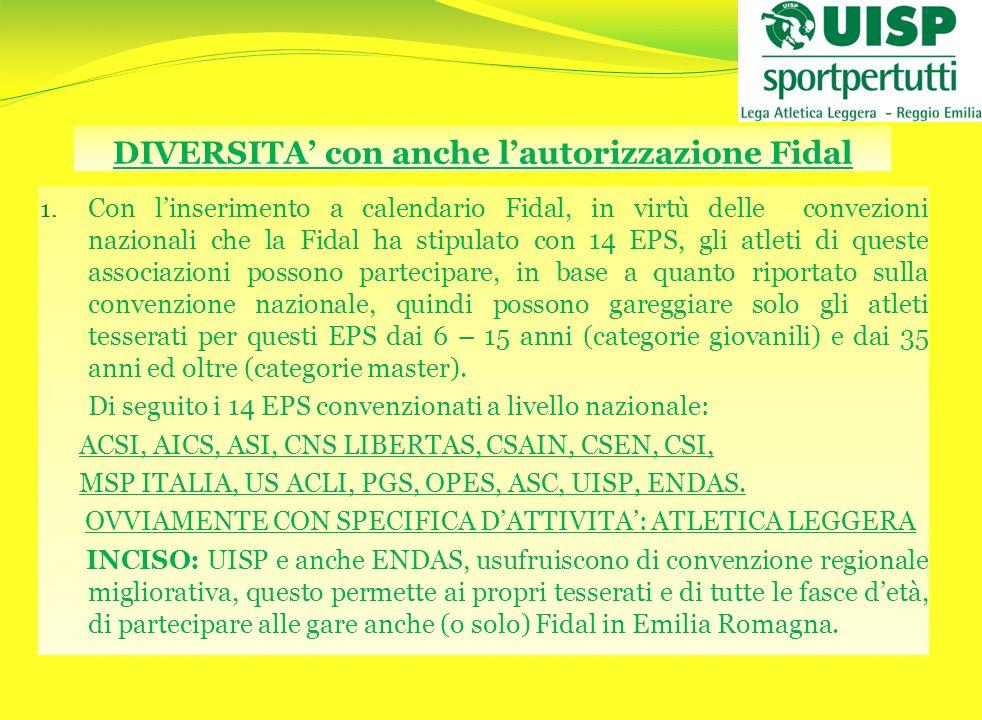 DIVERSITA' con anche l'autorizzazione Fidal