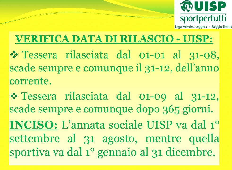 VERIFICA DATA DI RILASCIO - UISP: