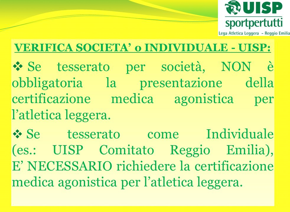 VERIFICA SOCIETA' o INDIVIDUALE - UISP: