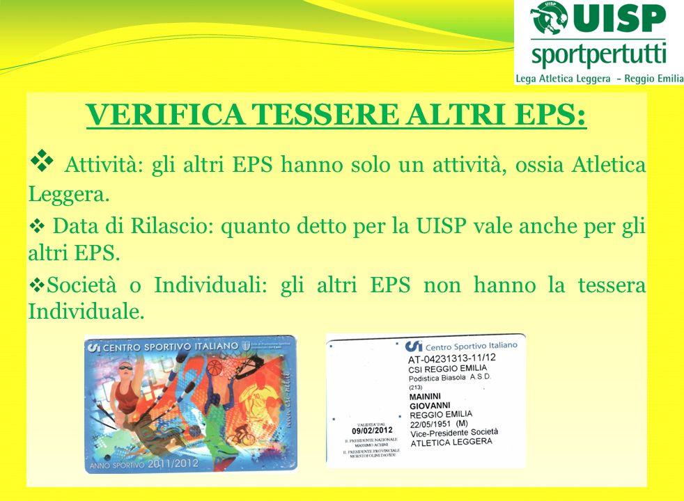 VERIFICA TESSERE ALTRI EPS: