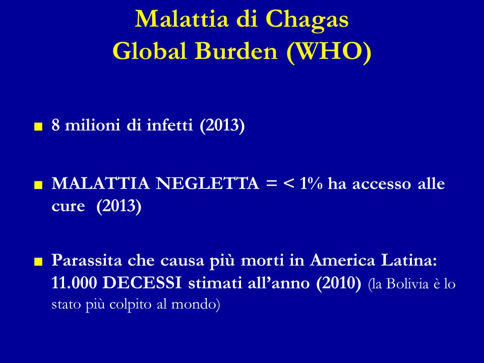 Malattia di Chagas Global Burden (WHO)