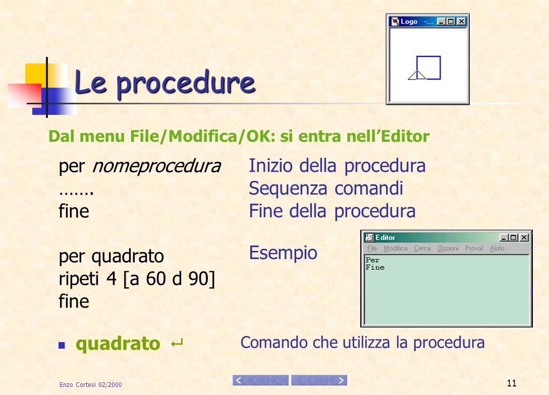 Le procedure per nomeprocedura Inizio della procedura …….