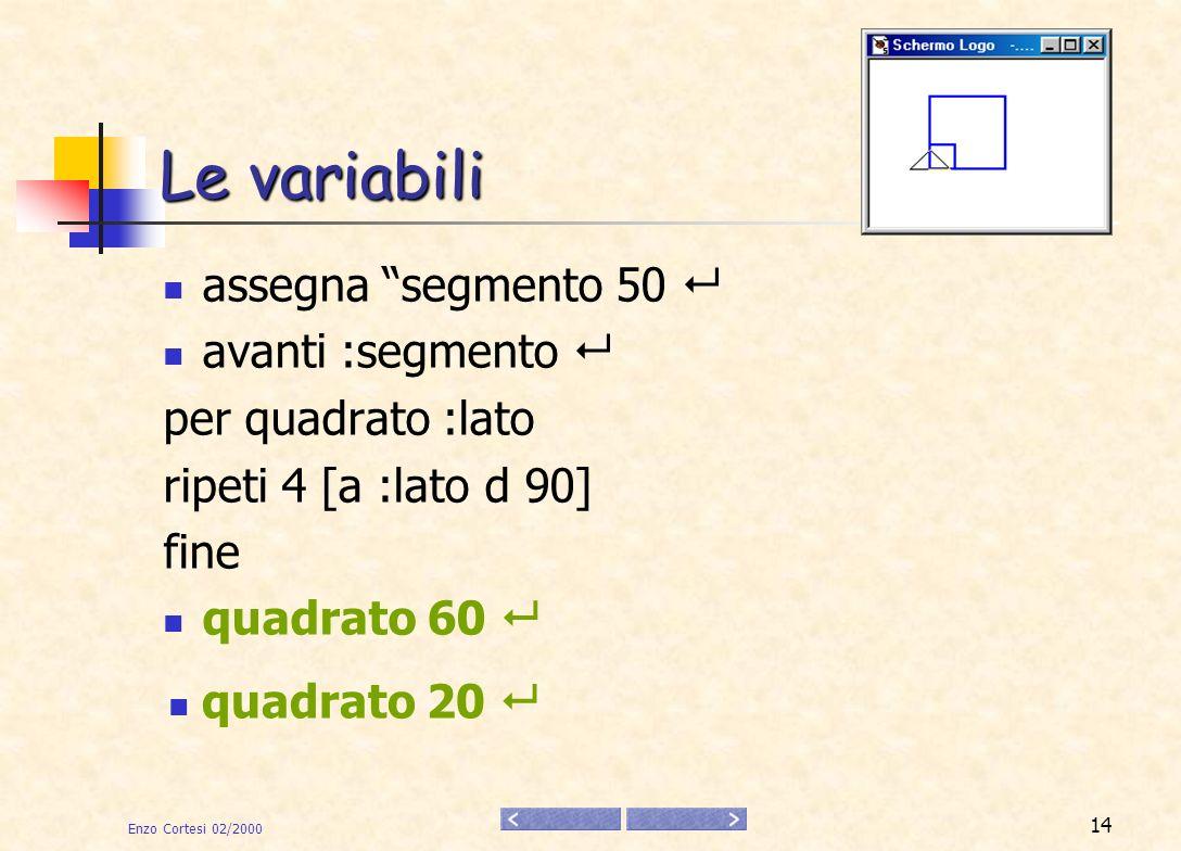 Le variabili assegna segmento 50  avanti :segmento 