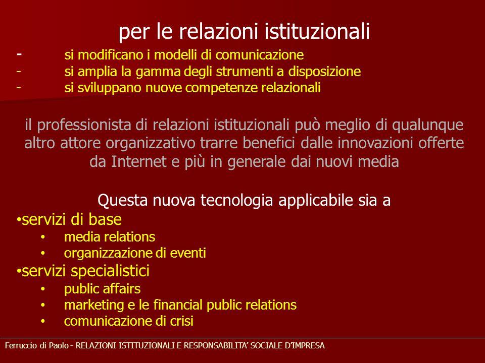 per le relazioni istituzionali